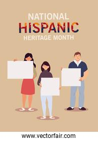 national hispanic heritage month with latin women and man with banners vector design
