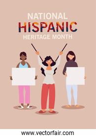 national hispanic heritage month with latin women with banners vector design