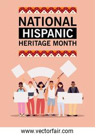 national hispanic heritage month with latin men and women with banners vector design