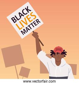 Black lives matter banner with man cartoon vector design