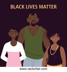 Black lives matter with mother father and daughter cartoons vector design