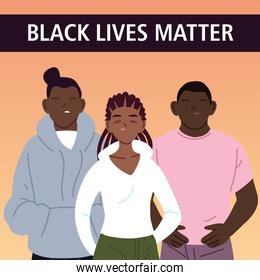 Black lives matter with girl and boys cartoons vector design