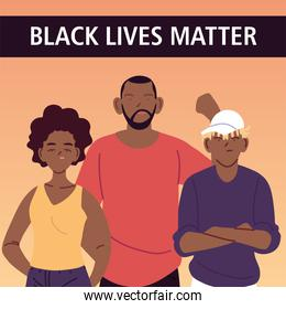 Black lives matter with mother father and son cartoons vector design