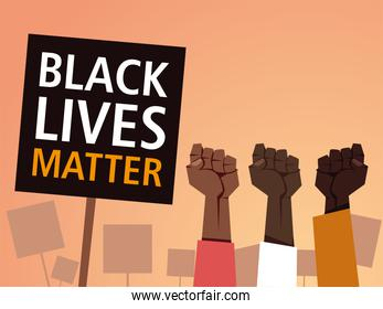 Black lives matter on banner with fists vector design