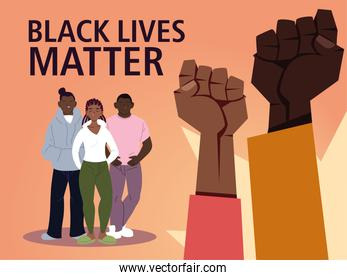 Black lives matter with fists girl and boys cartoons vector design
