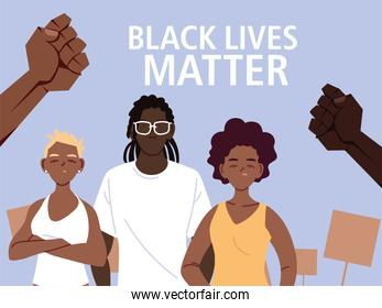 Black lives matter with girls boy cartoons and fists vector design
