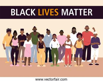 Black lives matter with women and men cartoons vector design