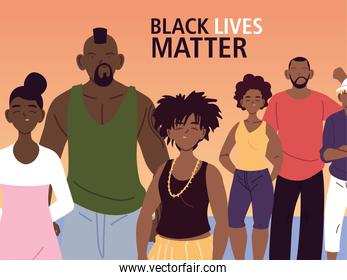 Black lives matter with families vector design