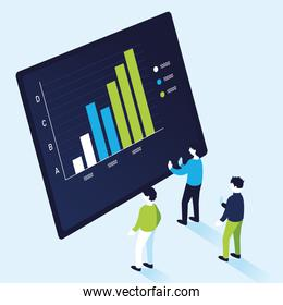 bars chart infographic with men vector design