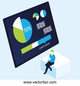 pie chart infographic and man vector design