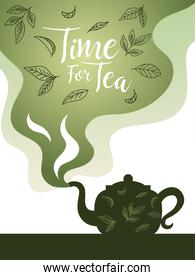 time for tea with pot and leaves on smoke vector design