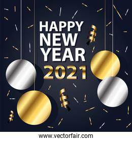 2021 Happy new year with spheres hanging gold and silver style vector design