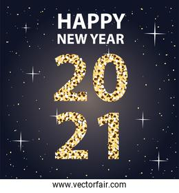 2021 Happy new year with stars gold style vector design