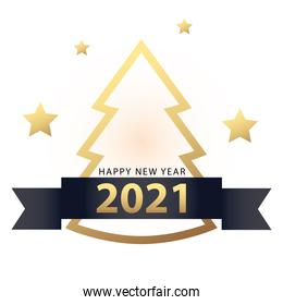 2021 Happy new year with pine tree ribbon and stars gold style vector design