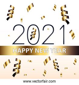 2021 Happy new year and confetti gold style vector design