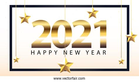 2021 Happy new year in frame with stars hanging gold style vector design