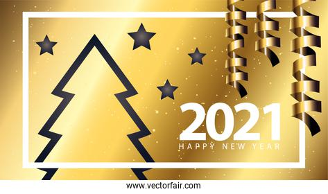 2021 Happy new year with pine tree gold and stars gold style vector design