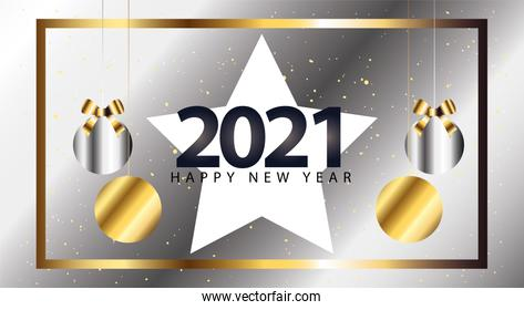 2021 Happy new year with star and spheres hanging silver style vector design
