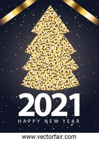 2021 Happy new year with pine tree gold style vector design