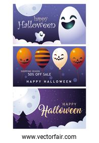 happy halloween shopping season set of banners vector design