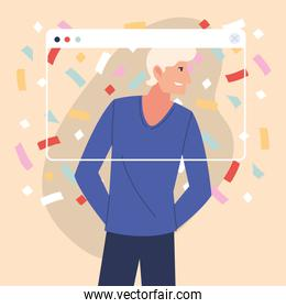 virtual party with blond man cartoon and confetti in screen vector design