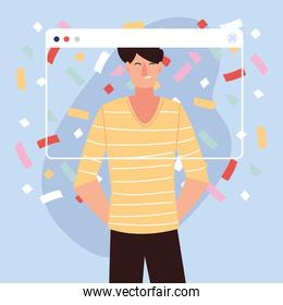 virtual party with man cartoon and confetti in screen vector design