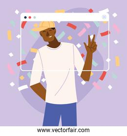 virtual party black man cartoon with hat and confetti in screen vector design