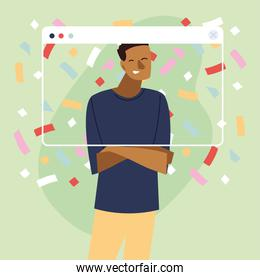 virtual party with black man cartoon and confetti in screen vector design