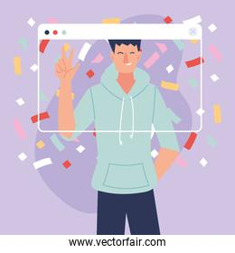 virtual party man cartoon with sportswear and confetti in screen vector design