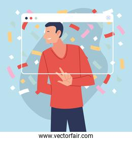 virtual party with male cartoon and confetti in screen vector design