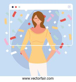 virtual party with brown hair woman cartoon and confetti in screen vector design