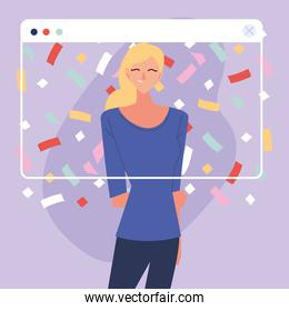 virtual party with blond woman cartoon and confetti in screen vector design