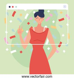 virtual party woman cartoon with dress and confetti in screen vector design
