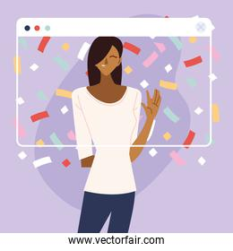 virtual party with black woman cartoon and confetti in screen vector design