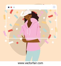 virtual party woman cartoon with sportswear and confetti in screen vector design