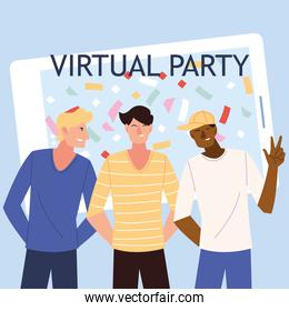 virtual party with men cartoons in front of smartphone vector design