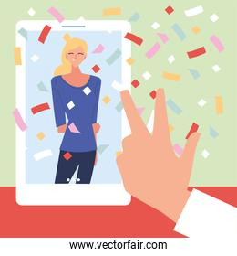 virtual party woman cartoon in smartphone and love peace hand vector design