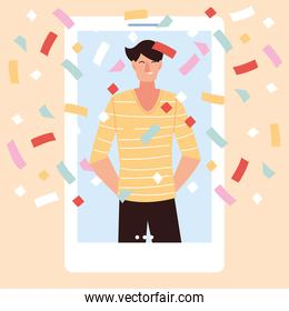 virtual party with man cartoon and confetti in smartphone vector design