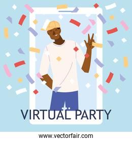 virtual party with black man cartoon and confetti in smartphone vector design