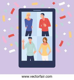 virtual party with men women cartoons in smartphone and confetti vector design