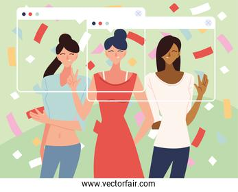 virtual party with women avatars and confetti in screens vector design
