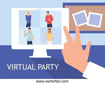 virtual party with men women cartoons in computer and love peace hand vector design