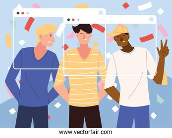 virtual party with men cartoons and confetti in screens vector design