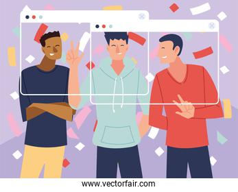 virtual party with men cartoons and confetti in screens vector