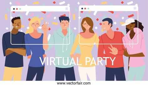 virtual party with men women cartoons and confetti in screens vector design