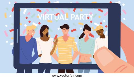 virtual party with men women cartoons and confetti in smartphone vector design