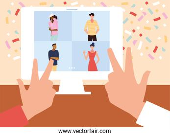 virtual party with men women cartoons in computer and confetti vector design
