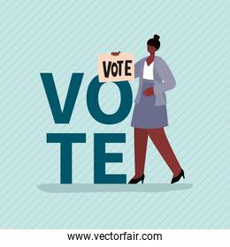 Black woman cartoon with vote banner vector illustration