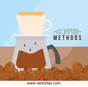 coffee methods with pot and beans vector design