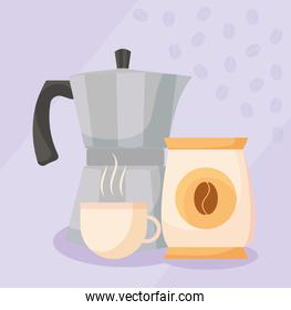 coffee cup kettle and beans bag vector design